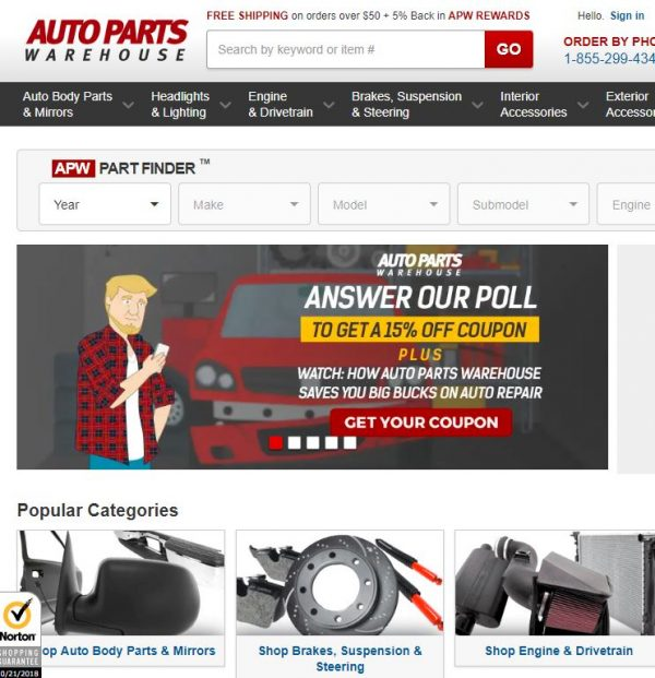 Auto Parts Warehouse-Auto Parts Warehouse- $34 off orders over $425 + FREE SHIPPING. Use Coupon Code: 34EAPWAFF8.