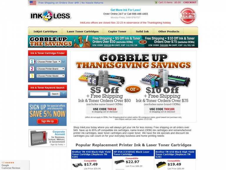 Ink4Less-15% Off + Free Shipping on Printer Ink & Toner (excludes OEMs)