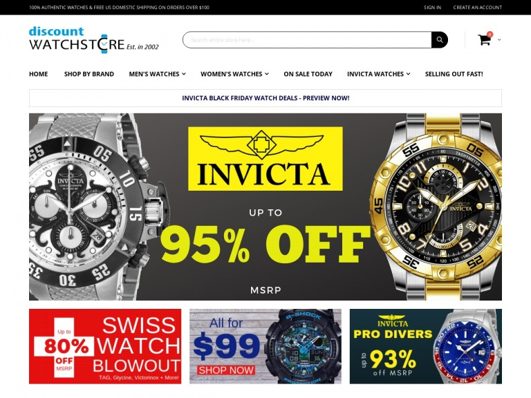 DiscountWatchStore.com-Cyber Monday Deal – Invicta Watches up to 93% Off! Best Savings of the Year! No Code Required. Valid 11/26 – 12/1 Only!