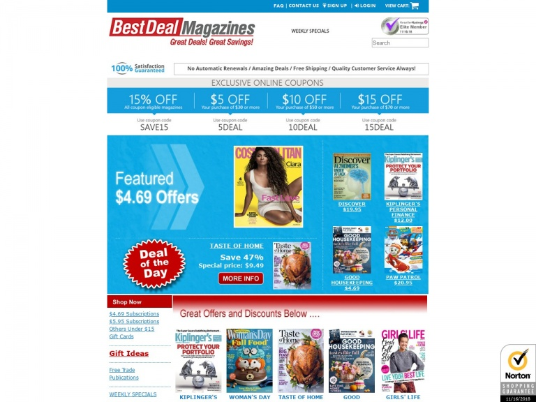 Best Deal Magazines-Just in time for GIFT GIVING! Take an additional 20% off EVERY magazine listed in the $4.69 and $5.95 category with coupon BDMBLKFRI20. Fantastic magazines starting at just $3.75 for a 1 year term – OR – order multiple years and lock in 20% savings!