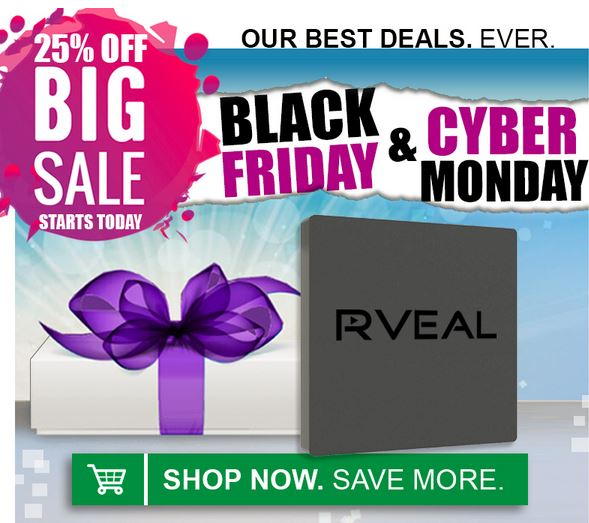 Rveal-BlackFriday-CyberMonday-25%off-Coupon-Codes
