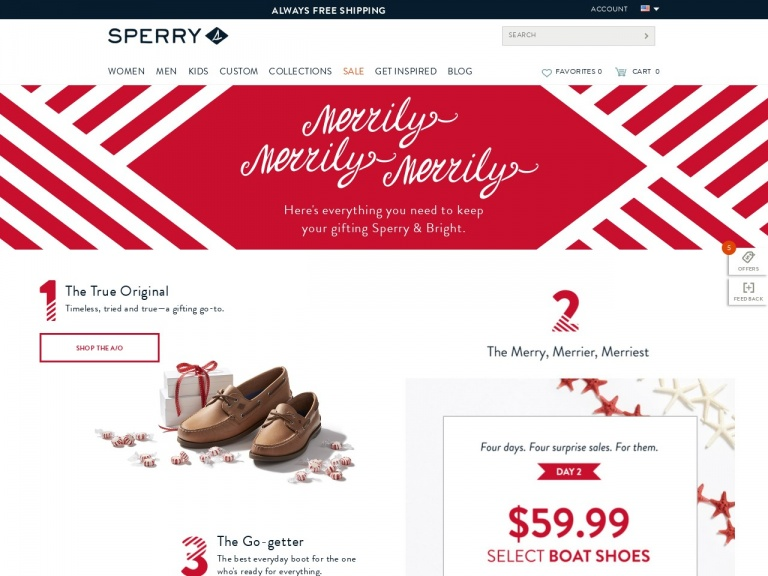Sperry-Sperry-4 Days, 4 Deals: $39.99 Sperry Sneakers with Code: MOREDEALS. Valid on 11/14 Only!
