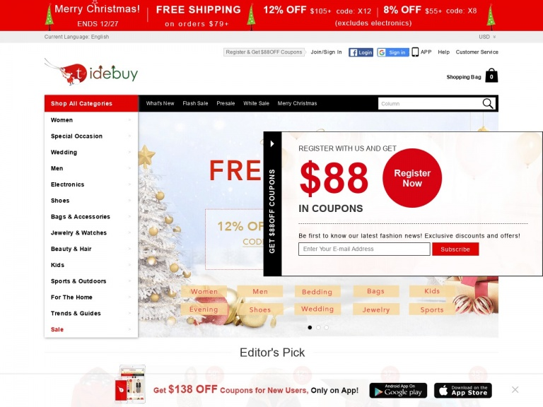 tidebuy.com-January Pop-Up Savings:4% OFF 2 Items ;10% OFF >=3 Items+$1 SHIPPING over $99
