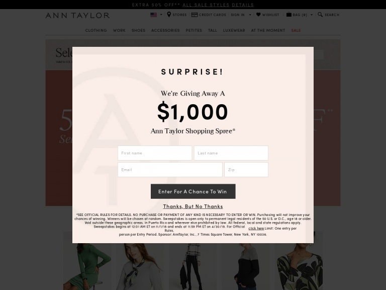 Ann Taylor-Ann Taylor-50% Off Select Full-Price Styles Plus Extra 60% Off All Sale Styles. Valid 1/12/2019 at 12 Am – 1/13/2019 at 11:59 Pm!