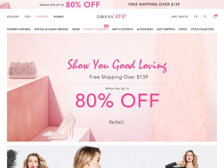 www.dresswe.com-Dresswe Exclusive Coupon: Whole Site 8% Off Over $99 With Code: happy8, Shop Now!