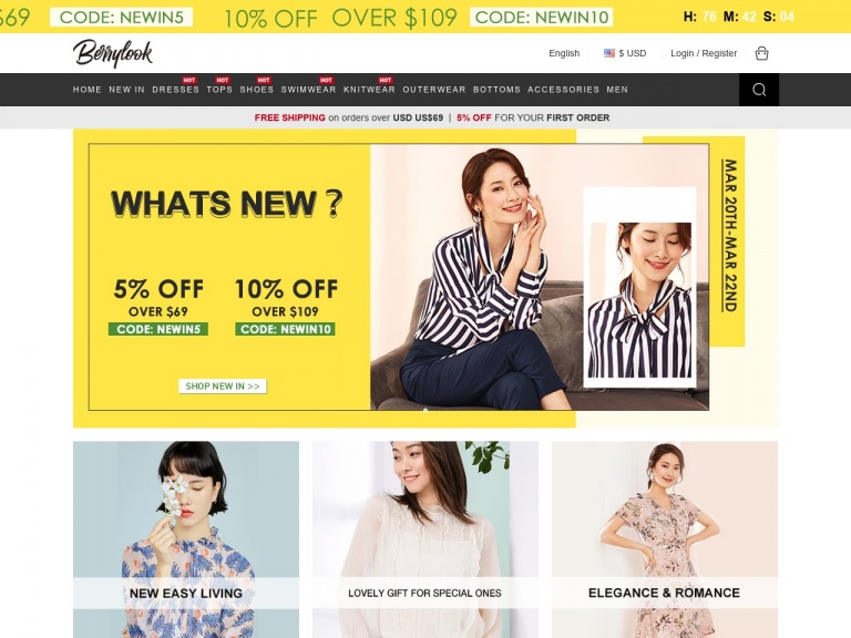 BerryLook-Berrylook.com Most liked Hot sale is ready 10% OFF over $109 With CODE:HOT10
