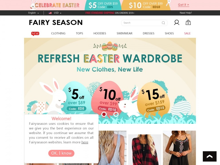 FairySeason-Easter Promotion $10 Off Orders Over $99…
