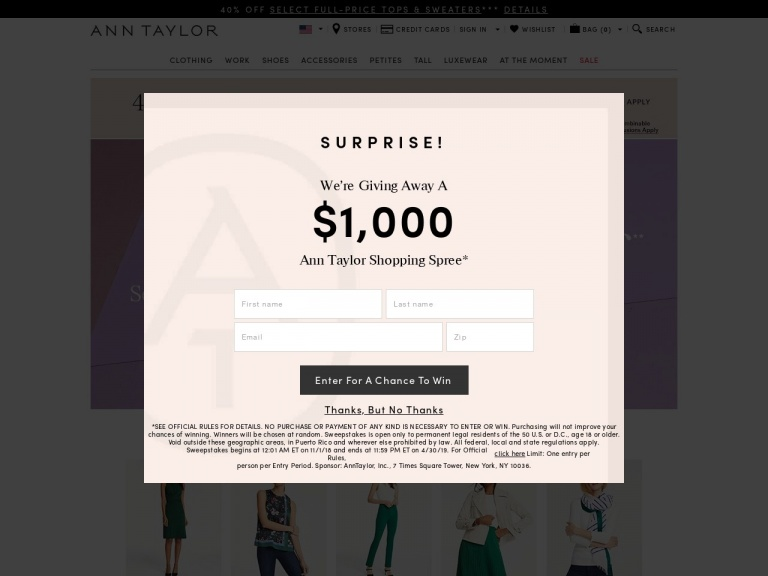 Ann Taylor-Ann Taylor-60% Off Select Full-Price Items with Code: SURPRISE. Valid 3/31 at 12 Am – 4/2 at 12 Am!