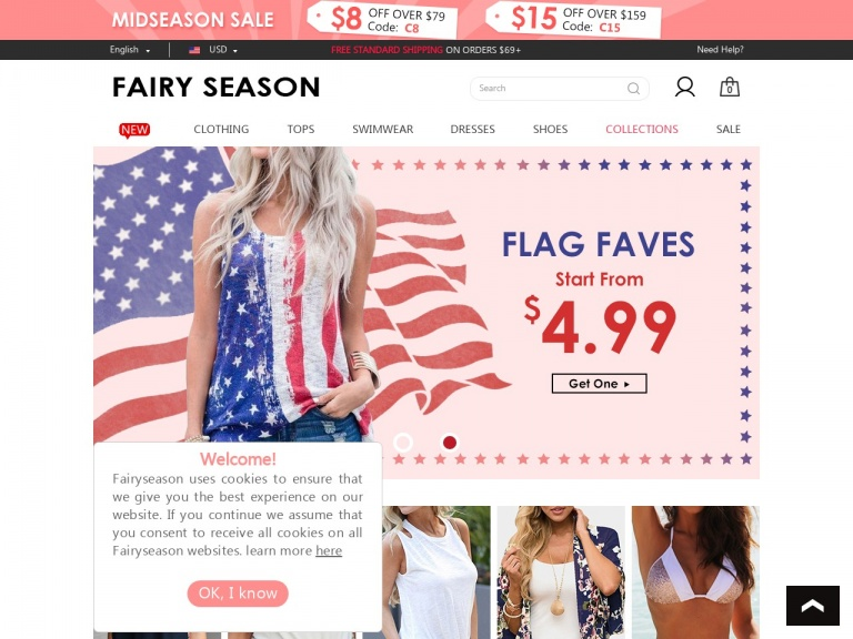 FairySeason-Fairyseason-FairySeason Midseason Sale Down To $4.99 and Save $15 from Every $159 Purchase with Code C15