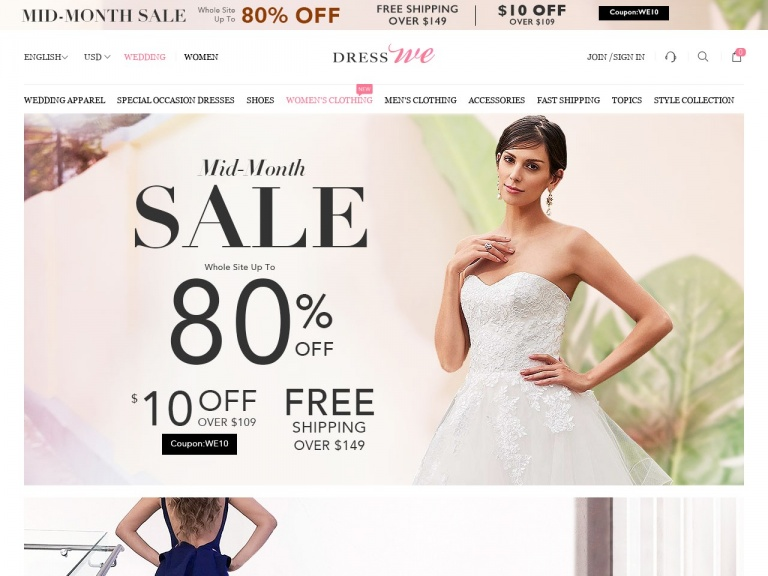 www.dresswe.com-Surprise Continues:8% off items=2,10% off items>=3+Free Shipping Over $139