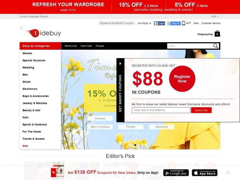tidebuy.com-Tidebuy Easter Day 15% off over $89, code:FLU15+Free Shipping