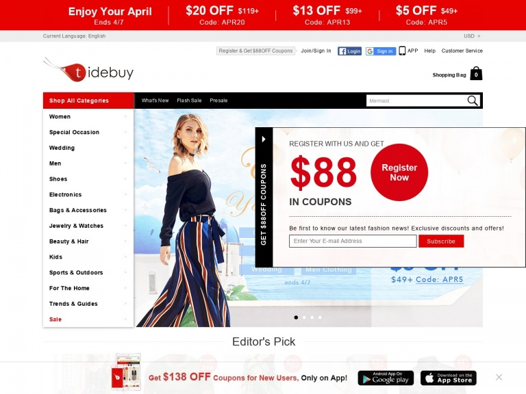 Tidebuy International-Tidebuy International-Enjoy Your April at Tidebuy:$13 OFF over $99, Code:APR13, Shop Now!date:4.1-4.8!