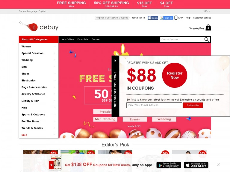 Tidebuy International-Tidebuy International-Tidebuy FREE SHIPPING over $90&50% OFF SHIPPING $59-$89.99!On purchase of $90 or more