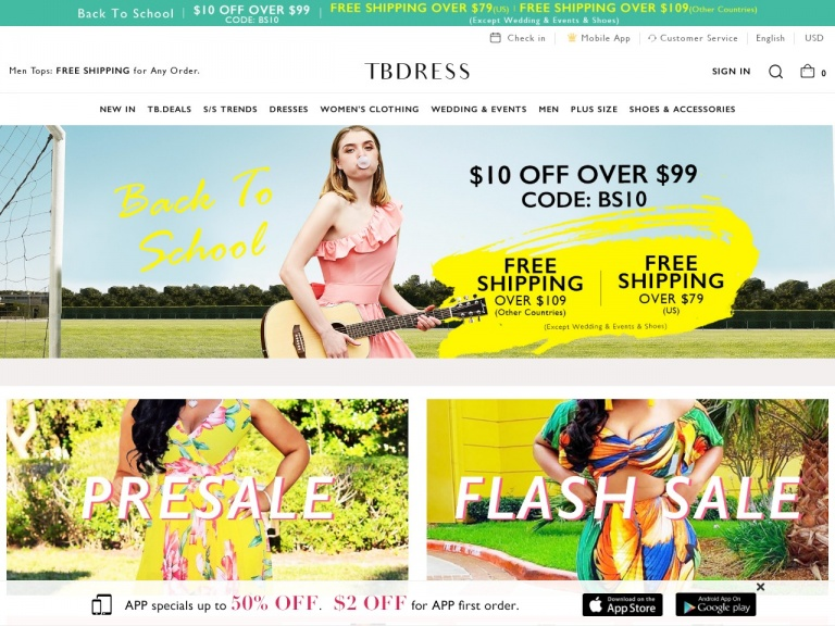 TBDress.com-September Splendor Sale: Free Shipping Over $109 (Except Wedding&Events&Shoes) Buy Now! Date: 9/17-9/23