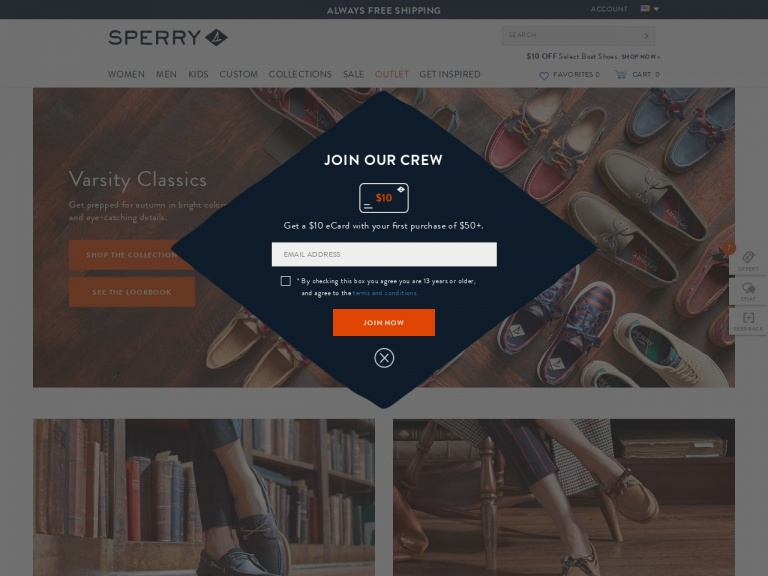 Sperry-Sperry-One-Day Flash Sale: $49.99 Select Mens Styles with Code: FRIYAY – Valid 8/9 Only!