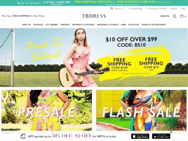 TBDress.com-Super Discount-12% off any order, code: SNS12. Buy Now! Date:9/1-10/1
