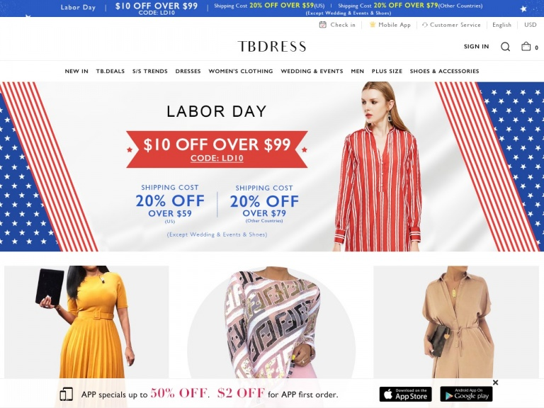 TBDress.com-Check Out With Paypal: Get Extra $10 OFF Over $89, $5 OFF Over $59. Date: 9/9-9/17