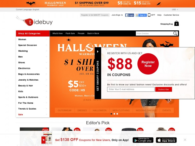tidebuy.com-11.11-Global Shopping Festival Warm-Up:$12 OFF over $120+Free Shipping over $109