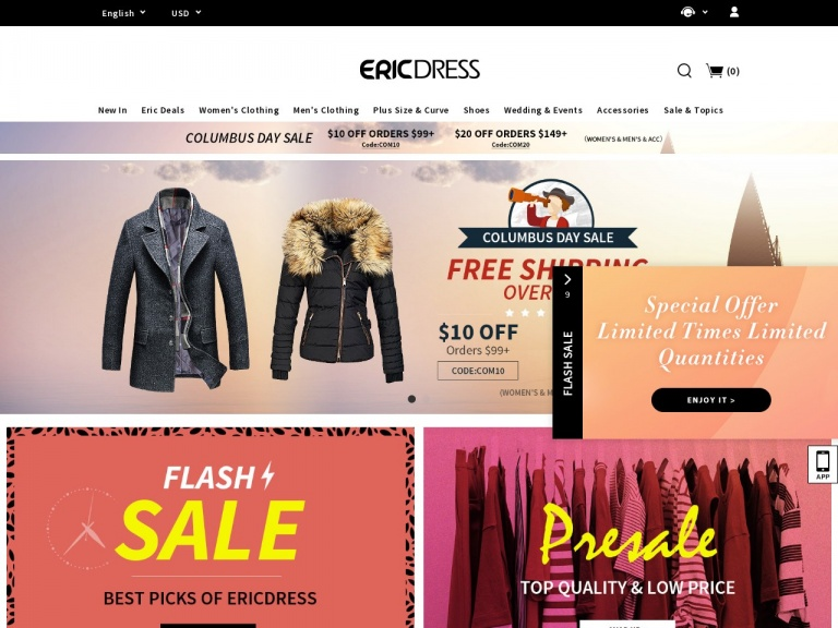 Ericdress.com-Black Friday Sale In Ericdress: 10% Off Orders $99+, Code:BFD10 (WOMEN'S & MEN'S & ACC), Extra Free Shipping Over $99