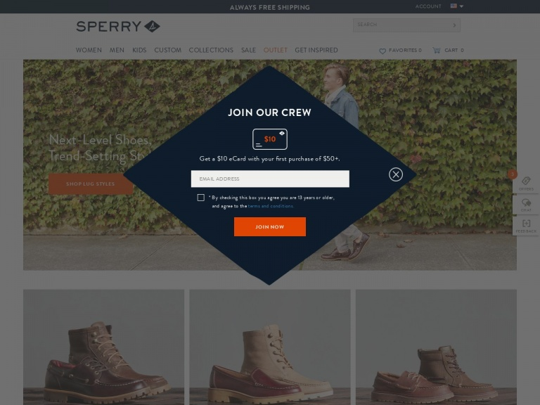 Sperry-Sperry-Free Crew Sock with Any Mens or Womens Sperry Boot Purchase. Use Code: CREWSOCK- valid 10/1 – 10/6!