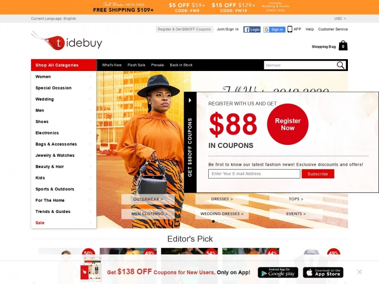 Tidebuy International-Tidebuy International-Tidebuy Fall Season Last Sale:$5 OFF Over $59; Code: FW5 Plus Free Shipping Over $109, Shop Now!Date:2019.9.30-2019.10.6!