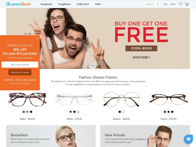 GlassesShop.com-Celebrate Singles Day with GlassesShop.com – Select frames are just $11.11 – Hurry, offer ends 11/11.
