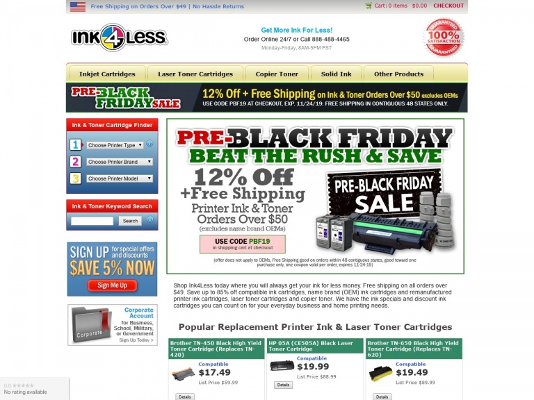 Ink4Less-Free Shipping + $5 Off Ink & Toner Orders Over $50 (excludes OEMs)