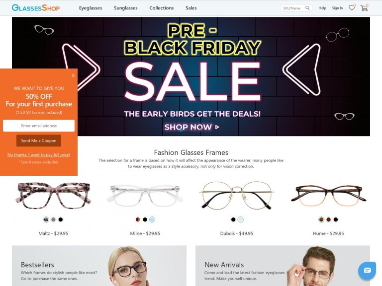 GlassesShop.com-Pre-Black Friday Sale! Eight BEST Selling Frames as low as $5.95 with code HAPPYGS at GlassesShop.com. Offer valid 11/21 – 11/27  ONLY! *Only one pair per account, each pair each day limited to first 30 people