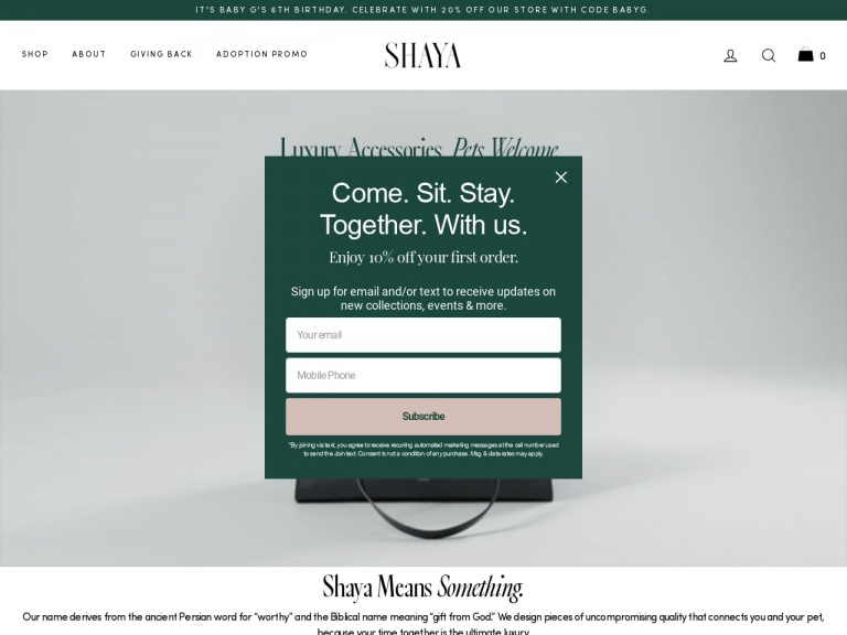 Shaya-10% off first purchase