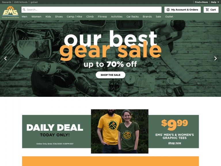 Eastern Mountain Sports-Save up to 70% Men's Gear and Apparel for a Limited Time at Eastern Mountain Sports!