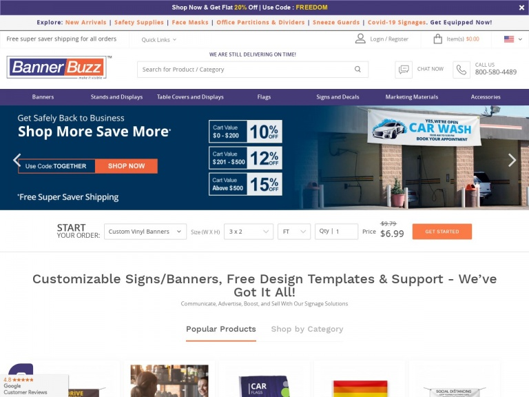 BannerBuzz.com-Stand Together Through the Pandemic. Shop BannerBuzz.com for Your Marketing Needs and Save! 10% Off Up to $200, 12% Off Up to $500, and 15% Off $501+ with Code: TOGETHER – Ends on 7/31