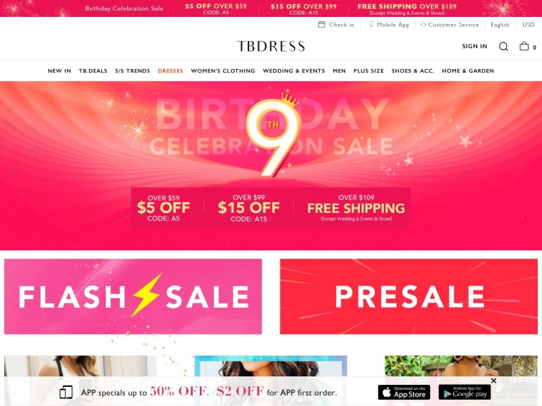 TBDress.com-Students Back Time Sale:5% Off Over $69, Code: ST5 +Free Shipping Over $109