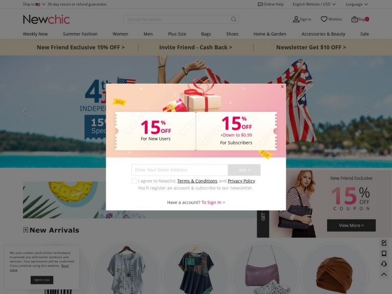 Newchic-Summer Sale Coupon – 18% OFF Paypal Only