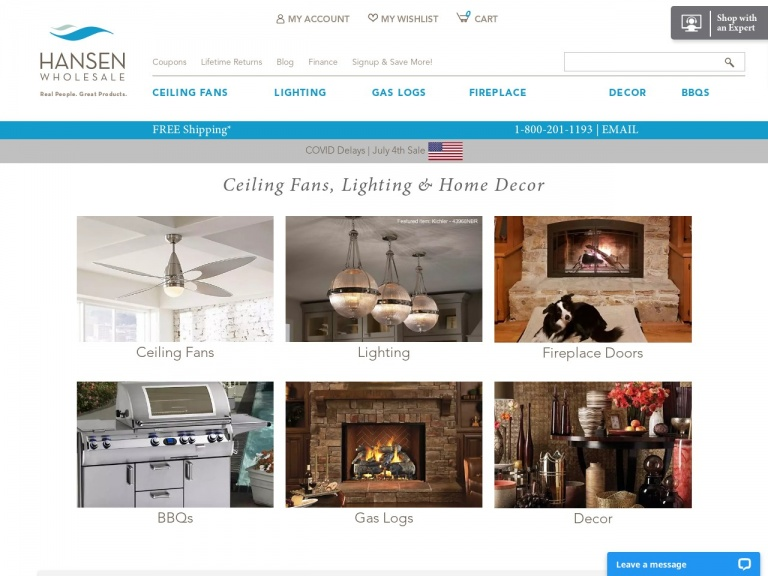 Hansen Wholesale-Up to 36% Off Emerson Ceiling Fans