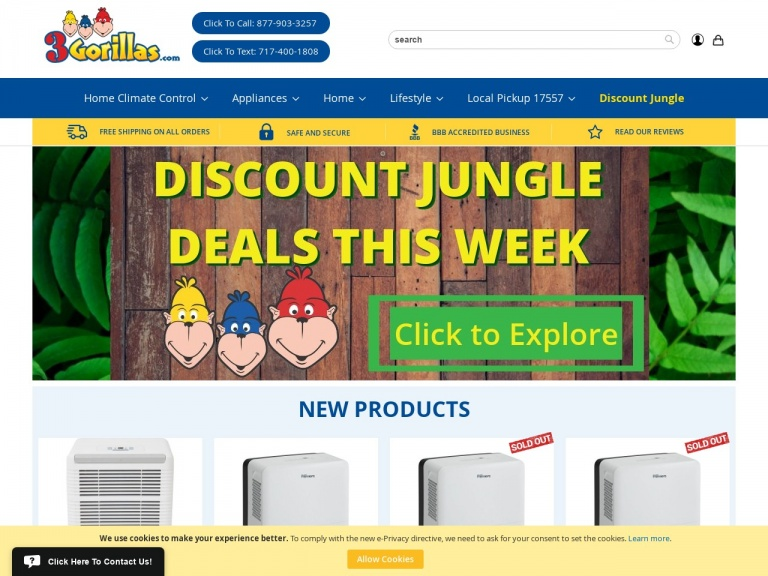 3Gorillas.com-Up to 44% off Dehumidifiers + Free Shipping