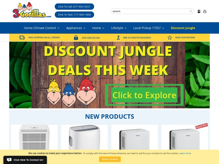 3Gorillas.com-Up to 50% off Dehumidifiers + Free Shipping