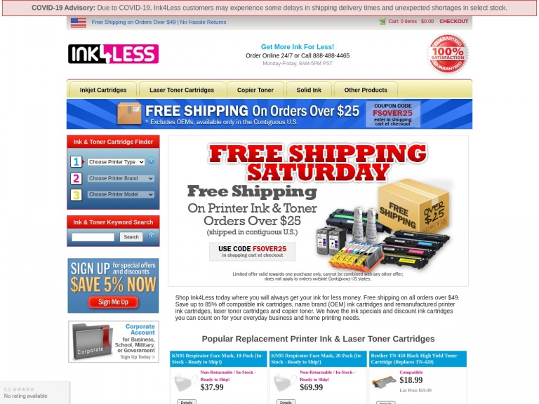 Ink4Less-10% Off + Free Shipping on Ink & Toner Orders Over $50 (excludes OEMs)