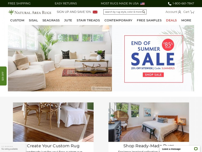 Natural Area Rugs-End of Summer Sale Event