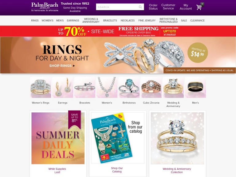 PalmBeach Jewelry-Take $20 OFF + FREE SHIPPING on All Orders over $50 plus get FREE PRINCESS CUT CZ EARRINGS on orders $75+ at PalmBeachJewelry.com! Use code LEAF20 to save. Valid through 12/31/20.