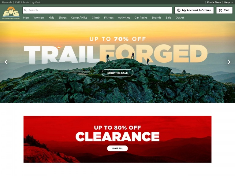 Eastern Mountain Sports-Trail Forged Sale: Save up to 70% on Outdoor Gear and Apparel, Only at Eastern Mountain Sports!