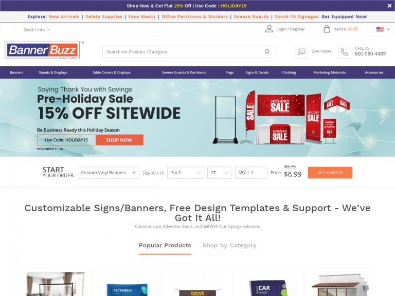 BannerBuzz.com-Shop the BannerBuzz.com Pre-Black Friday Sale Now and Save BIG on Custom Banners, Signage, and Other Marketing Materials! Use Code: HOLIDAY15 for 15% Off EVERYTHING Plus Free Shipping! Sale Ends on 11/26
