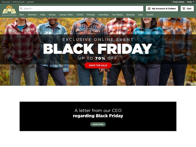 Eastern Mountain Sports-Shop the Eastern Mountain Sports Black Friday Deals and Save up to 70% SITEWIDE!
