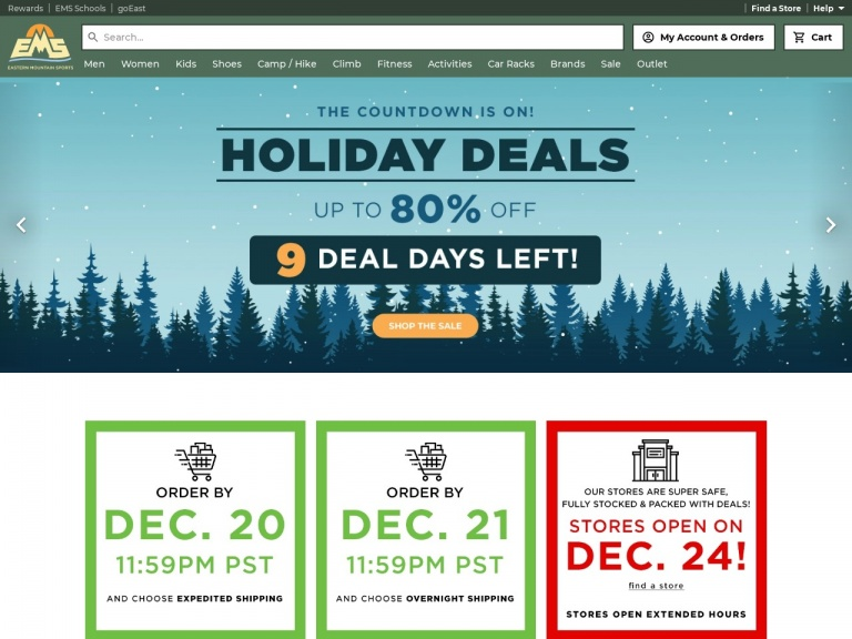 Eastern Mountain Sports-Holiday Deal: Save 40 – 80% on ALL EMS Clothing, Only at Eastern Mountain Sports!