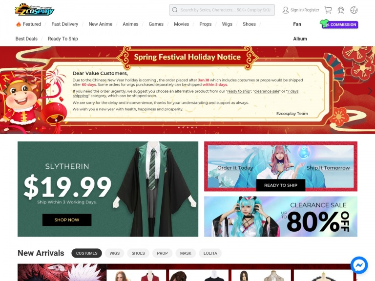 Ezcosplay-10%-15% Off Sitewide for Spring Festival 2021