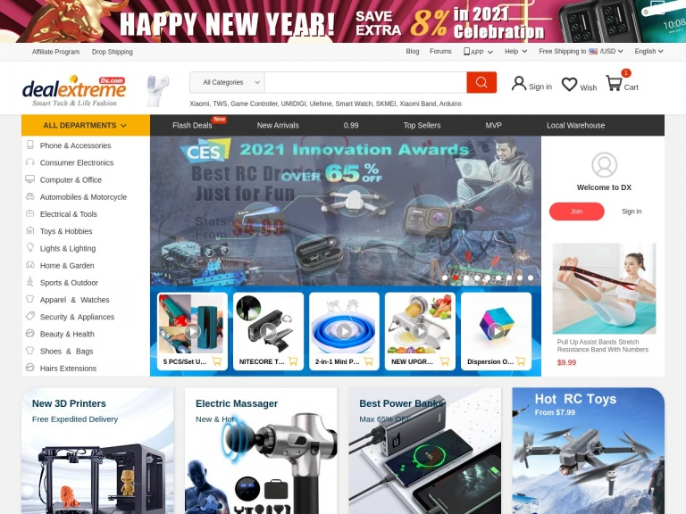 DealExtreme-4% off for consumer electronics