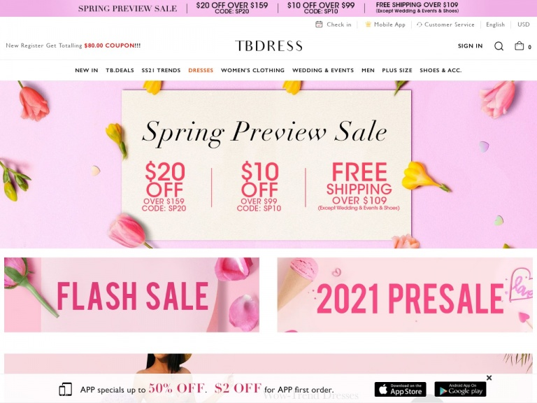 TBDress.com-Wedding & Events Dresses $15 Off Over $139, Code:WED15; Free Shipping Over $159; Date:2021.3.3-2021.3.31