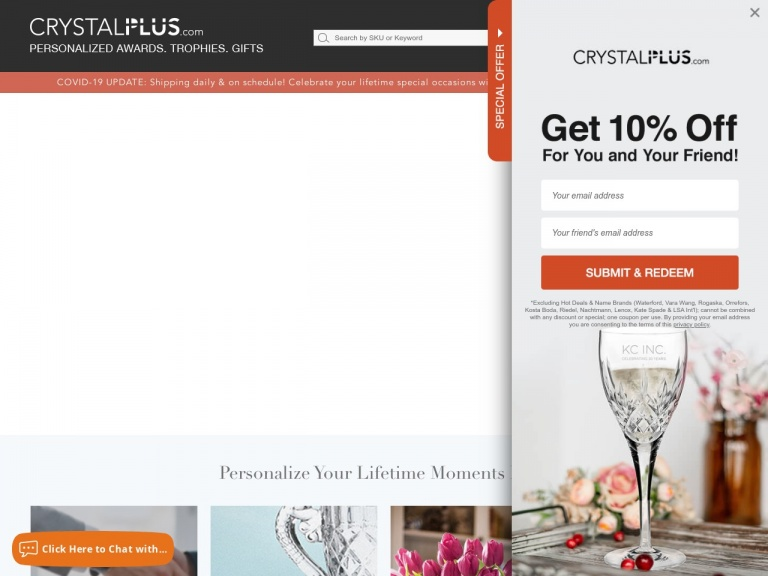 Crystal Plus-Save 10% on select items this Mother's Day with code LOVEMOM10